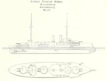 同级舰的线条画,在中心线上有三座大型炮塔和两根烟柱。
