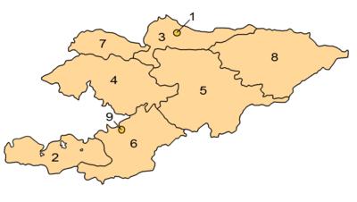 A clickable map of Kyrgyzstan exhibiting its provinces.