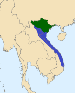 The Mạc (green) and Nguyễn-Trịnh alliance (blue) in 1570.