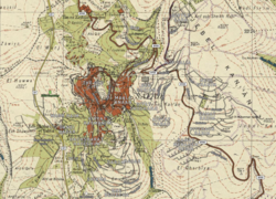Safed 2020 street map overlaid on Survey of Palestine map from 1942.png