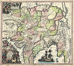 A German map from 1740 showing North India and Central Asia, including Mughal Bengal on the eastern flank.