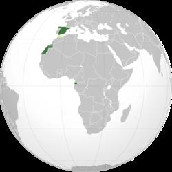 西班牙共和国领土及殖民地:  西班牙、撒哈拉和几内亚  摩洛哥保护国  丹吉尔国际区