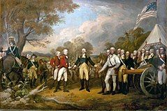 In an American army camp, of two British red-coated officers with white pants on the left, British General Burgoyne offers his sword in surrender to the American General Gates in a blue coat and buff pants to the right-center, flanked to the right by US Colonel Morgan dressed all in white.