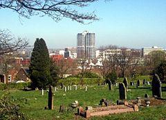 Swindon town centre, taken from Radnor Street Cemetery, Spring 2012.jpg