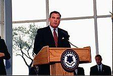 John G. Rowland is seen giving a speech.