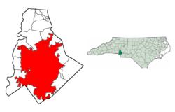 在梅克伦堡县与在北卡罗来纳州内的位置