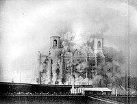 A church being dynamited