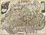 Nouvelle carte de la Suisse dans laquelle sont exactement distingues les treize cantons, leurs allies, et leurs sujets.