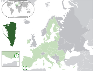 Locator map of Gibraltar's location in Europe