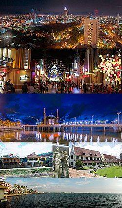从上至下、从左至右: 望加锡CBD的夜景天际线、望加锡超级商城(英语:Trans Studio Makassar)、望加锡水上清真寺、望加锡至瓦坦波尼公路沿线的传统布吉人房屋、渔夫的雕像、鹿特丹堡(英语:Fort Rotterdam)、洛萨里海滩(Losari)