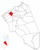 Willingboro Township highlighted in Burlington County. Inset map: Burlington County highlighted in the State of New Jersey.