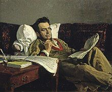 A middle-aged man in a light-colored coat, reclining on a sofa, staring thoughtfully into space with a pen and music paper
