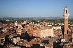View of Piazza del Campo (Campo Square), the Mangia Tower (Torre del Mangia) and Santa Maria in Provenzano Church