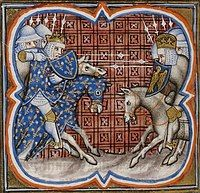 An illuminated picture of two armies of mounted knights fighting; the French side are on the left, the Imperial on the right.