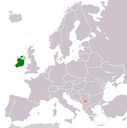 Map indicating locations of Ireland and Kosovo