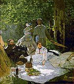 Claude Monet painting Déjeuner sur l'herbe from 1866 artists stiing on picnic blanket