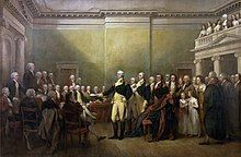 Painting by John Trumbull, depicting General Washington, standing in Maryland State House hall, surrounded by statesmen and others, resigning his commission