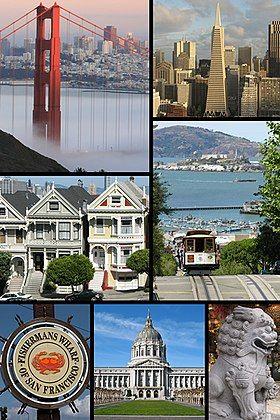 """旧金山意象,左上逆时针依序:金门大桥、阿拉莫广场的""""彩妆女士""""、渔人码头螃蟹标志、旧金山市政厅、旧金山唐人街的石狮、旧金山路面缆车(前)与阿尔卡特拉斯岛(后)、泛美金字塔与旧金山市景"""