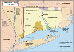 康涅狄格、纽哈文、塞布鲁克殖民地地图