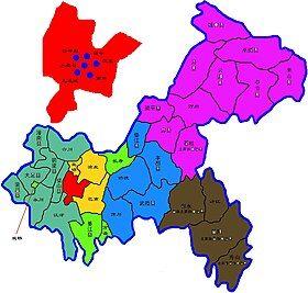 重庆主城区在重庆市的位置 (红色和黄色部分为重庆主城区) 其中浅绿和深绿色部分为直辖前的重庆市11个郊县