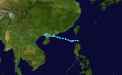 热带风暴黑格比的路径图