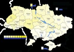 Yulia Tymoshenko (First round) – percentage of total national vote (25.05%)