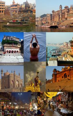 从顶部顺时针: 马尼卡尼卡河坛,孟什河坛,瓦拉纳西国际机场(英语:Lal Bahadur Shastri Airport),鹿野苑的藏传佛教寺庙,瓦拉纳西印度大学(英语:Benares Hindu University),湿婆金庙