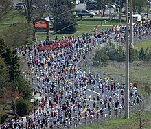 Runners participating in Spokane's annual Lilac Bloomsday Run