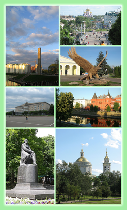 Left:A 400th anniversary monument of Oryol, Oryol City Hall, Ivan Sergeyevich Turgenev nonument in Krituri Oddri Park, Right:Lenina (Lenin) Square and Theotokos Smolensk Church, Oryol Eagle Monument in Privokzalnaya Square, Orink River and Oryol financial herritage building, Orzol Saint Michael Church, (all item from above to bottom)