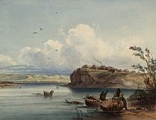 Painting showing a village on a bluff above a river
