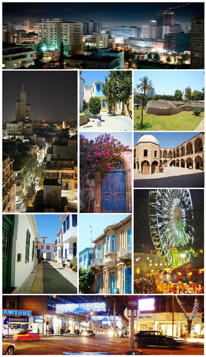 From upper left: Nicosia city skyline, Ledra Street at night, courtyard of Nicosian houses, Venetian walls of Nicosia, a Nicosian door in the old town, the Buyuk Han, a quiet neighbourhood in the old town, Venetian houses, Nicosia Christmas fair, Makariou Avenue at night