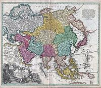 1730 C. Homann Map of Asia - Geographicus - Asiae-homann-1730.jpg