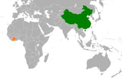 中国和科特迪瓦在世界的位置