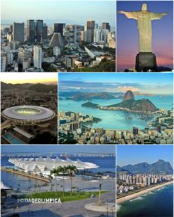 从左上顺时针:里约市中心全景、救世基督像、博塔弗戈湾、巴拉达蒂茹卡海滩、明日博物馆(前)和里约-尼泰罗伊大桥(后)、圣特雷莎的电车。