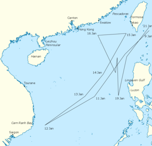 Map of the South China Sea region, marked with the route taken by the Third Fleet and the locations of cities and other locations mentioned in the article