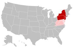 深红色的州属于大西洋中部和东北地区,而粉红色的州属于大西洋中部和东南地区。