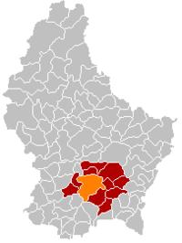 卢森堡城在卢森堡地图上的位置,卢森堡城为橙色,卢森堡县为深红色
