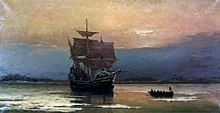 A painting depicting a ship partly encrusted in snow and ice at anchor in a calm harbor. A small boat full of men is moving away from the ship.