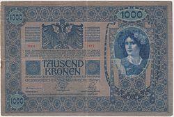 1903年发行的1000奥匈帝国克朗正面