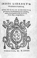 Title page of the Index Librorum Prohibitorum