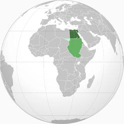 绿:英埃苏丹 淡绿:1934年割让予意属利比亚 深绿:埃及王国