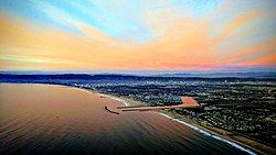 Aerial view of Marina del Rey on takeoff from Los Angeles International Airport