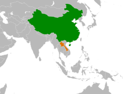 China和Laos在世界的位置
