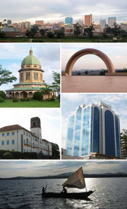 Counter-clockwise from top: Panoramic view of downtown Kampara, Bahá'i Temple, Makerere University, panoramic view of Lake Victoria, Kampara Worker's House, Gaddafi National Mosque