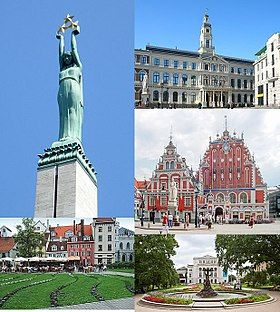 From top, left to right: the Freedom Monument, the Riga City Council building, the House of the Blackheads, Livonian Square, and the Latvian National Opera