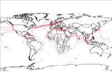 拥有红蓝双线的世界地图