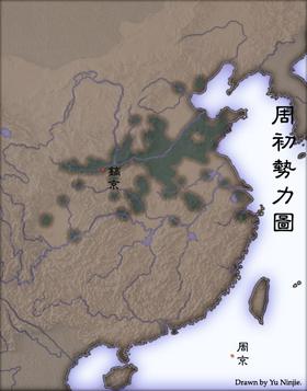绿色部分为西周势力范围。