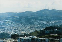Part of Daly City, with San Bruno Mountain and the San Francisco neighborhood of Crocker-Amazon in the background