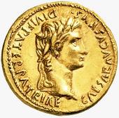 Aureus of Augustus, the first Roman Emperor. of Roman Empire