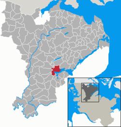 石勒苏益格在石勒苏益格-弗伦斯堡县的位置
